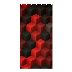 Artistic Cubes 7 Red Black Shower Curtain 36  x 72  (Stall)