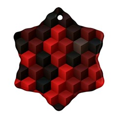 Artistic Cubes 7 Red Black Snowflake Ornament (2 Side)