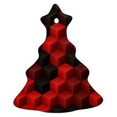 Artistic Cubes 7 Red Black Christmas Tree Ornament (2 Sides)