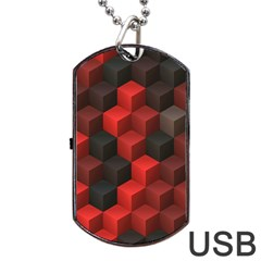 Artistic Cubes 7 Red Black Dog Tag Usb Flash (two Sides)