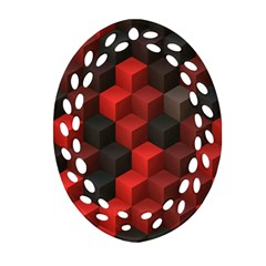 Artistic Cubes 7 Red Black Ornament (oval Filigree)