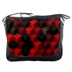 Artistic Cubes 7 Red Black Messenger Bags