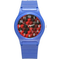 Artistic Cubes 7 Red Black Round Plastic Sport Watch (S)