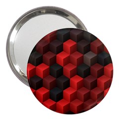 Artistic Cubes 7 Red Black 3  Handbag Mirrors