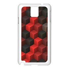 Artistic Cubes 7 Red Black Samsung Galaxy Note 3 N9005 Case (White)