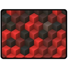Artistic Cubes 7 Red Black Double Sided Fleece Blanket (large)