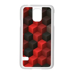 Artistic Cubes 7 Red Black Samsung Galaxy S5 Case (white)