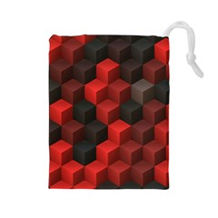 Artistic Cubes 7 Red Black Drawstring Pouches (large)