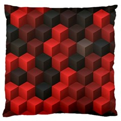 Artistic Cubes 7 Red Black Large Flano Cushion Cases (One Side)