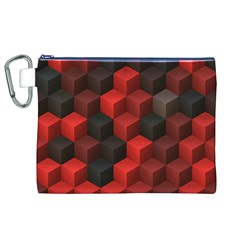 Artistic Cubes 7 Red Black Canvas Cosmetic Bag (XL)