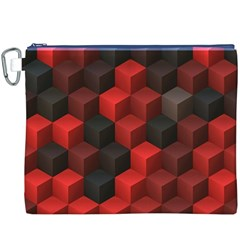 Artistic Cubes 7 Red Black Canvas Cosmetic Bag (XXXL)