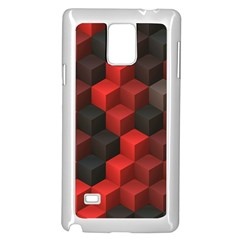 Artistic Cubes 7 Red Black Samsung Galaxy Note 4 Case (White)