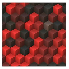 Artistic Cubes 7 Red Black Large Satin Scarf (Square)