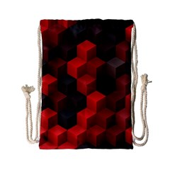 Artistic Cubes 7 Red Black Drawstring Bag (Small)