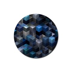 Artistic Cubes 9 Blue Rubber Coaster (Round)