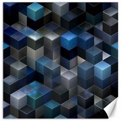 Artistic Cubes 9 Blue Canvas 16  x 16