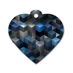 Artistic Cubes 9 Blue Dog Tag Heart (Two Sides)