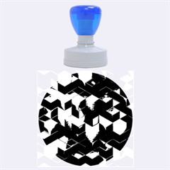 Artistic Cubes 9 Blue Rubber Round Stamps (Large)