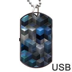 Artistic Cubes 9 Blue Dog Tag USB Flash (One Side)