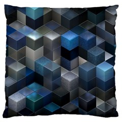 Artistic Cubes 9 Blue Large Cushion Cases (Two Sides)