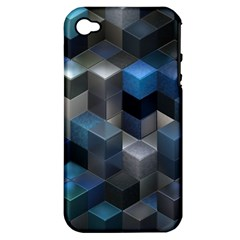 Artistic Cubes 9 Blue Apple iPhone 4/4S Hardshell Case (PC+Silicone)