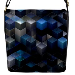 Artistic Cubes 9 Blue Flap Messenger Bag (S)