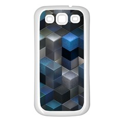 Artistic Cubes 9 Blue Samsung Galaxy S3 Back Case (White)