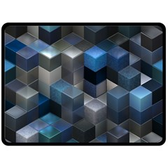 Artistic Cubes 9 Blue Double Sided Fleece Blanket (large)