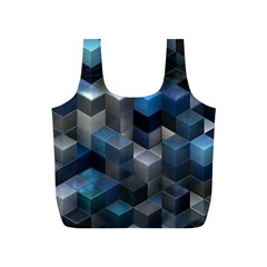 Artistic Cubes 9 Blue Full Print Recycle Bags (S)