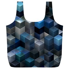 Artistic Cubes 9 Blue Full Print Recycle Bags (l)