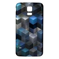 Artistic Cubes 9 Blue Samsung Galaxy S5 Back Case (White)