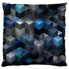 Artistic Cubes 9 Blue Standard Flano Cushion Cases (one Side)