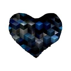Artistic Cubes 9 Blue Standard 16  Premium Flano Heart Shape Cushions