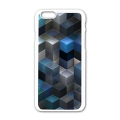 Artistic Cubes 9 Blue Apple iPhone 6/6S White Enamel Case