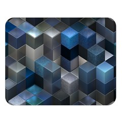 Artistic Cubes 9 Blue Double Sided Flano Blanket (large)