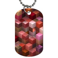 Artistic Cubes 9 Pink Red Dog Tag (One Side)