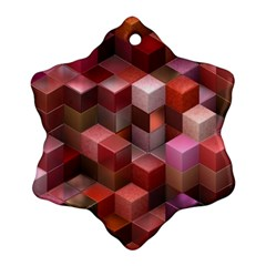 Artistic Cubes 9 Pink Red Ornament (snowflake)