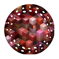 Artistic Cubes 9 Pink Red Round Filigree Ornament (2side)