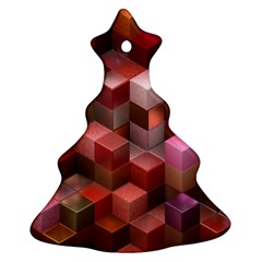 Artistic Cubes 9 Pink Red Christmas Tree Ornament (2 Sides)