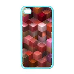 Artistic Cubes 9 Pink Red Apple iPhone 4 Case (Color)