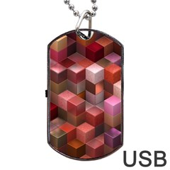 Artistic Cubes 9 Pink Red Dog Tag Usb Flash (one Side)