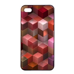 Artistic Cubes 9 Pink Red Apple Iphone 4/4s Seamless Case (black)