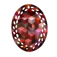 Artistic Cubes 9 Pink Red Oval Filigree Ornament (2 Side)