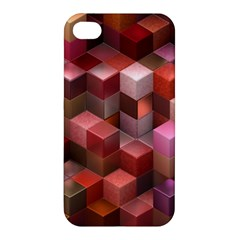 Artistic Cubes 9 Pink Red Apple iPhone 4/4S Premium Hardshell Case