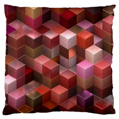 Artistic Cubes 9 Pink Red Large Cushion Cases (Two Sides)