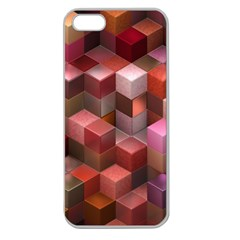 Artistic Cubes 9 Pink Red Apple Seamless iPhone 5 Case (Clear)
