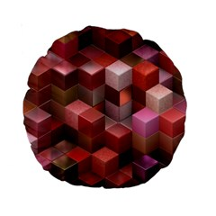 Artistic Cubes 9 Pink Red Standard 15  Premium Round Cushions