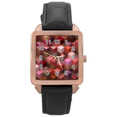 Artistic Cubes 9 Pink Red Rose Gold Watches