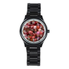 Artistic Cubes 9 Pink Red Stainless Steel Round Watches
