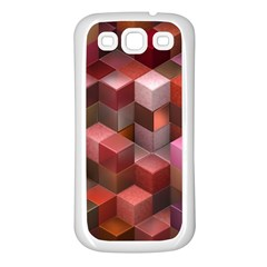 Artistic Cubes 9 Pink Red Samsung Galaxy S3 Back Case (White)